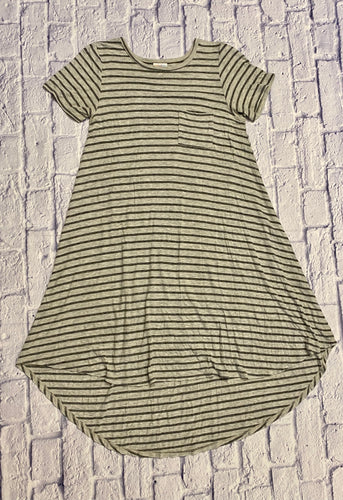 Lularoe Carly hi lo dress in olive green and grey horizontal stripes.  Front breast pocket.  Very stretchy.