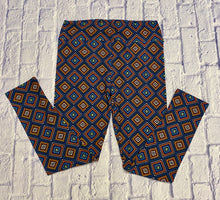Load image into Gallery viewer, Lularoe tall and curvy leggings fit sizes 14-22. Blue with orange, yellow, and teal geometric pattern. NWOT.