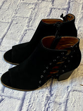 Load image into Gallery viewer, Lucky Brand black suede open toe bootie with lace up side detail and side zip closure.  New without tags.