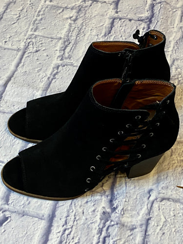 Lucky Brand black suede open toe bootie with lace up side detail and side zip closure.  New without tags.