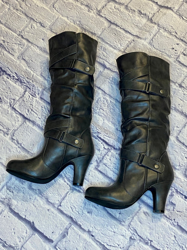 Madden Girl  grey knee high boots with criss cross strap detail and heel.  New out of box.