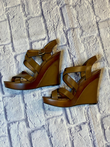 Maurices tan and brown two tone strappy sandals with wedge heel.  New out of box.