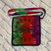 Load image into Gallery viewer, Gypsy Rose tie dye fabric crossbody purse in green, red, and purple with lotus flower on front.  Flap closure with smaller pocket in front and main zipper closure.