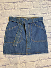 Load image into Gallery viewer, Forever 21 medium wash deni mini skirt with built in denim tie belt.  Zip and button closure in front with two front and back pockets.  NWOT.