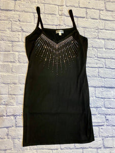 Say What? black slip on dress with v neckline and rhinestone spray pattern from neckline onto body.  Super cute.