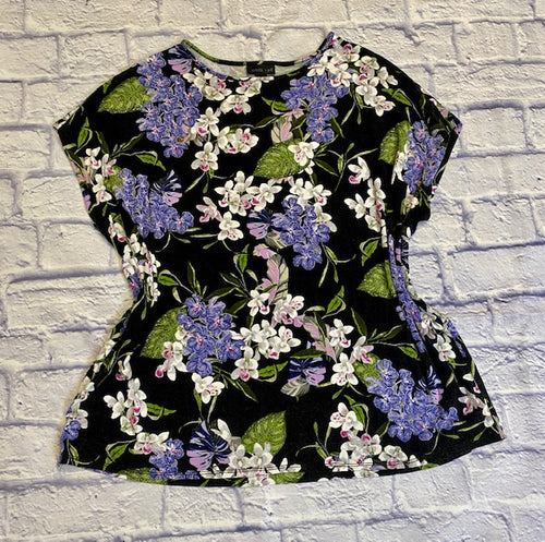 J Jill soft black t-shirt with purple and white floral pattern.  Cap sleeves.