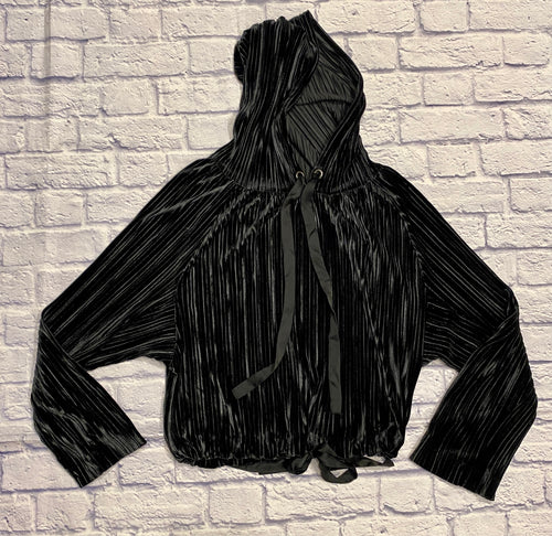 Rachel Roy black velvet pleated sweatshirt with satin drawstring hood and satin drawstring waist.