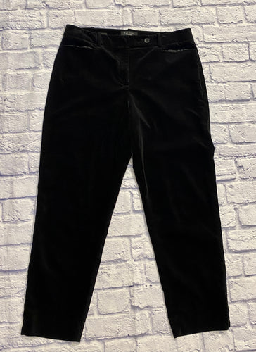 Talbots black velvet slacks with front and back pockets and zip/button closure.  Front pockets are satin-lined.