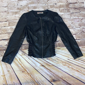 Torrid Leatherette by BB jeans faux black leather jacket with zip front and gathered sides.  Collarless.