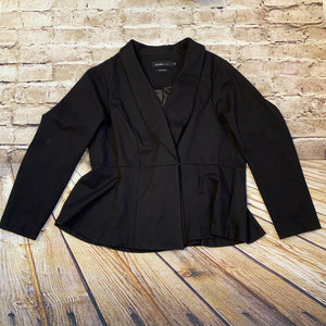 Torrid black blazer with bell hemline and satin lining.