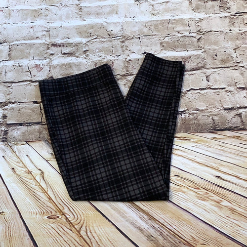 Maurices black and grey plaid skinny pants.
