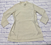 Load image into Gallery viewer, H&M black and white polka dot tunic with mock turtle neck and 3/4 sleeves. Two button closure on neckline in back.  Very mod.
