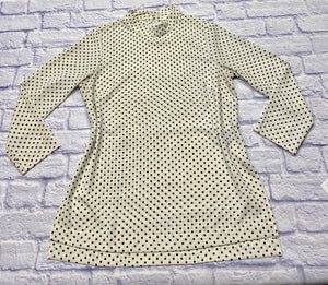 H&M black and white polka dot tunic with mock turtle neck and 3/4 sleeves. Two button closure on neckline in back.  Very mod.