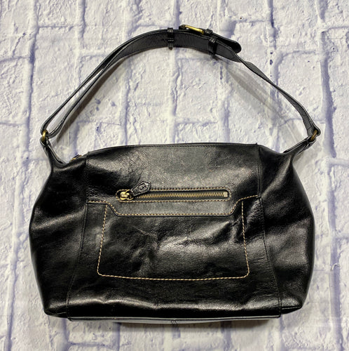 Etienne Aigner black leather cowhide shoulder bag with adjustable shoulder strap and front zip pocket.  Black interior satin lining with inside zip pocket.