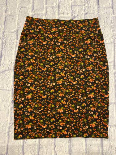 Lularoe black stretchy midi skirt with orange and green flowers.  Thick waistband.  Runs big.