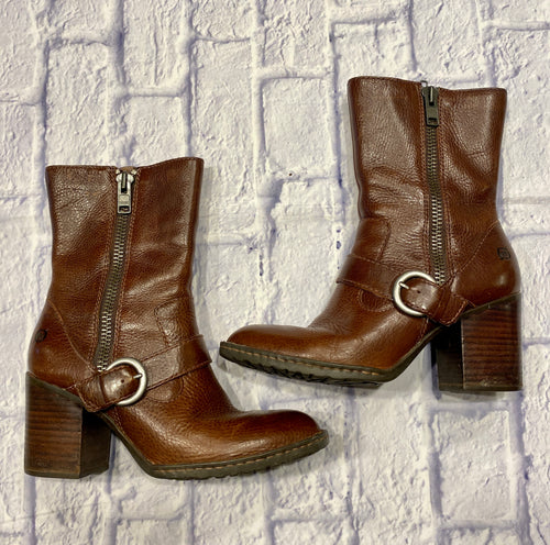 Børn mahogany brown mid-calf boots with chunky heel and strap across front.  Thich zippers on both sides, one for design and one for slipping on boot.  Like new condition.  So cute!