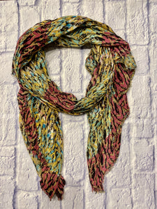 Lulla multi-color scarf in pink, yellow, teal, and brown.  Lightweight, like new.