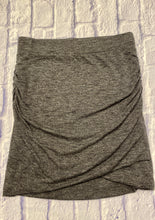 Load image into Gallery viewer, Banana Republic grey mini skirt.  Ruched hem on the sides with wide waistband.  Slightly asymmetrical bottom hem.  Very stretchy.