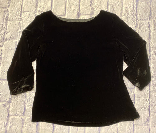 Talbots black velvet 3/4 sleeve blouse with V cutout on sleeve hem and boatneck.  Zip side.