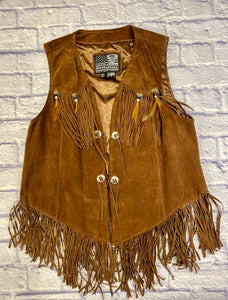 Biker's Dream Apparel brown suede vest with fringe, bead, and feather detail.  Four buttons on front for decoration.  Sweet piece!