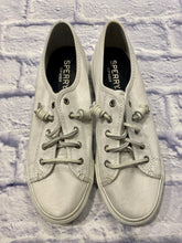 Load image into Gallery viewer, Sperry all white top-sider with leather laces and thick soles.  Like new.