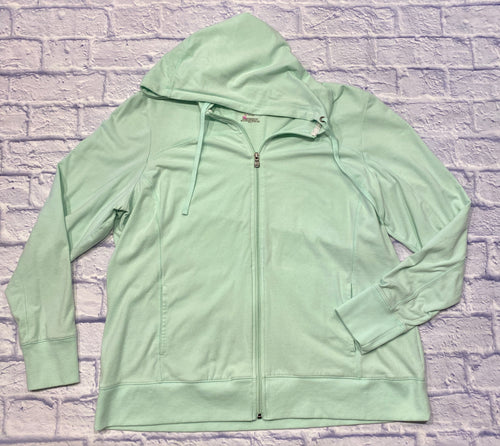 Tek gear mint colored active hoodie.  Full zip front with two side pockets.