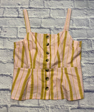 Load image into Gallery viewer, Topshop pink and mustard yellow striped tank with buttons up the front and peplum hem line.  Pleating in the back.  Very sweet.