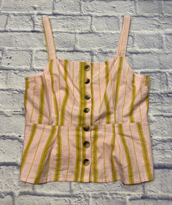 Topshop pink and mustard yellow striped tank with buttons up the front and peplum hem line.  Pleating in the back.  Very sweet.