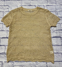 Load image into Gallery viewer, Bella tan crochet top with scalloped arm and waist hems.  So cute!