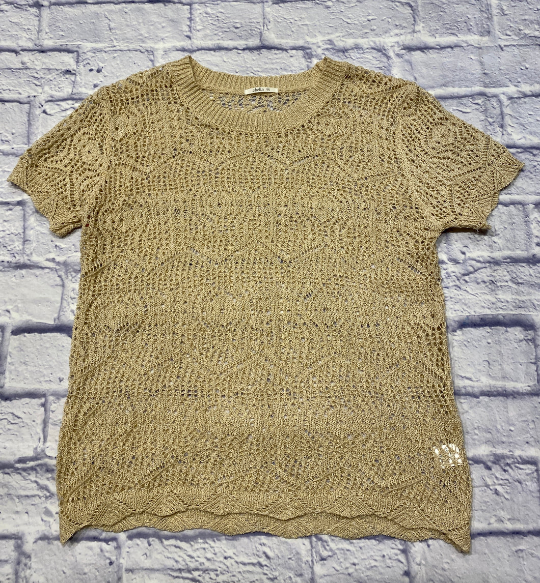 Bella tan crochet top with scalloped arm and waist hems.  So cute!