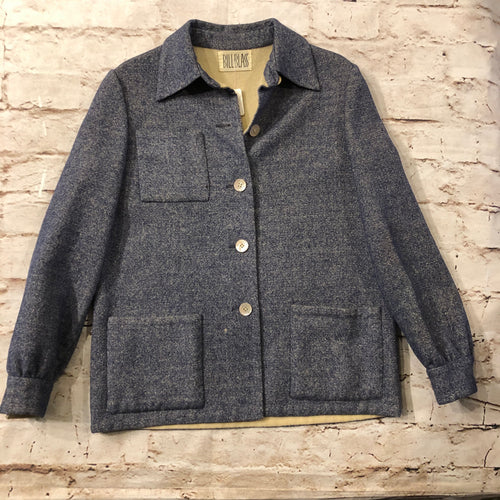 Bill Blass vintage wool coat in blue denim with white buttons and three front pockets.