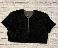 Load image into Gallery viewer, Scott McClintock black vintage velvet bolero with intricate pattern embossed.  Shoulder pads, cropped.  Perfect for that special occassion!