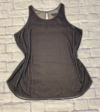 Load image into Gallery viewer, Gap velvet tank in silvery grey.  High neckline with button closure in back.