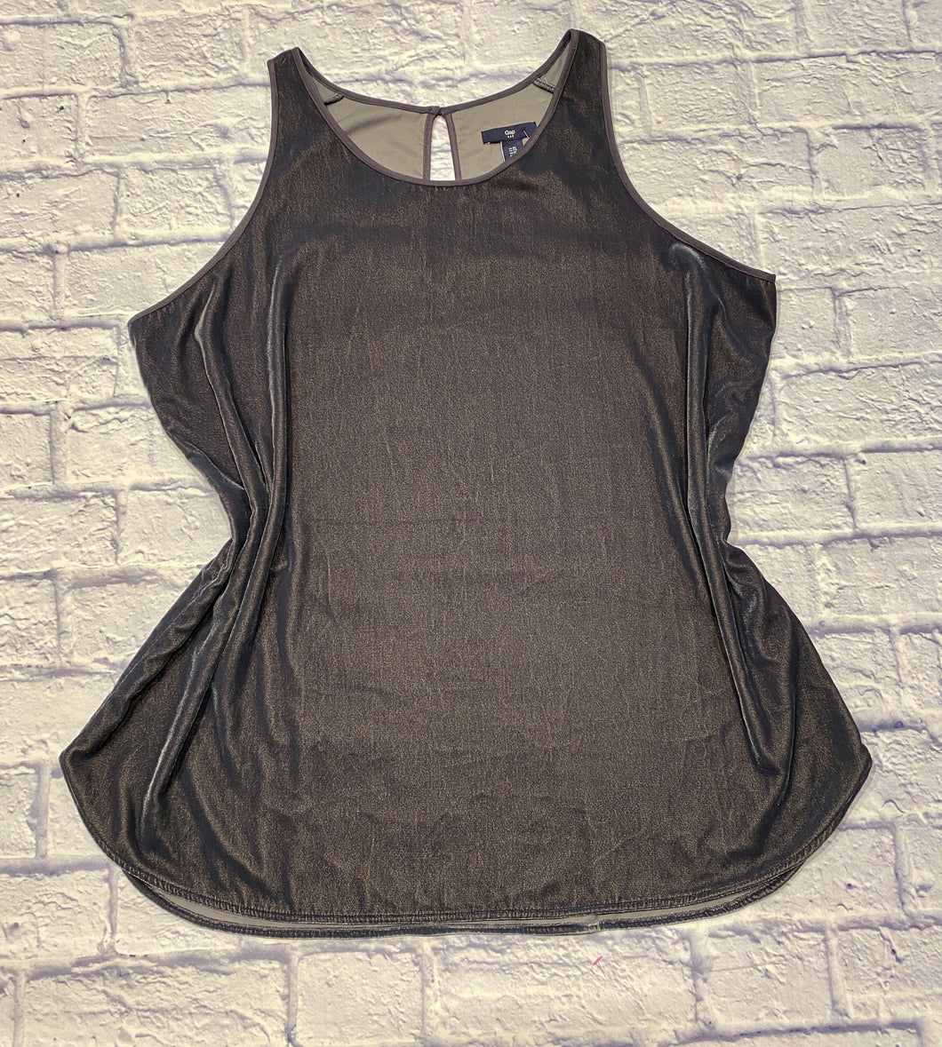 Gap velvet tank in silvery grey.  High neckline with button closure in back.