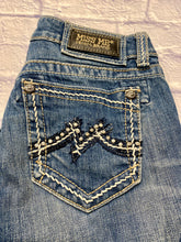 Load image into Gallery viewer, Miss Me bootcut jeans with rhinestone back pockets.  Contrasting stitching, whisking, fading and distressing on front and back.  Low rise.