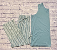 Load image into Gallery viewer, Roaman's loungewear set in teal.  Solid teal tank top in soft stretch knit and elastic waist striped white and teal pants with pockets.