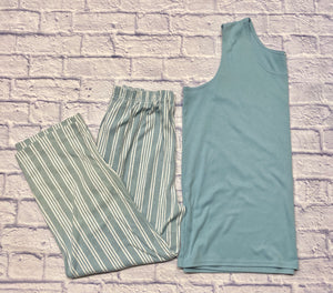 Roaman's loungewear set in teal.  Solid teal tank top in soft stretch knit and elastic waist striped white and teal pants with pockets.