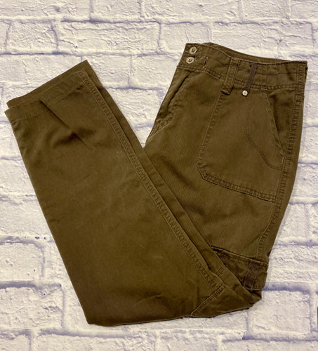 Levi's cargo pants in olive green.  Lightweight, bootcut.  Two button and zip closure with side pockets.  Button pockets on each thigh.  Two back pockets.
