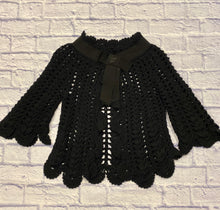 Load image into Gallery viewer, Franco Ziche black crochet capelet with scalloped hem and neck.  3/4 sleeves with scallop hem as well.  Black satin collar with snap closure.  Absolutely adorable!