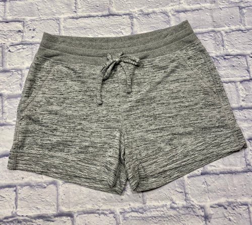 90 Degrees by Reflex sleep shorts in heathered grey.  Elastic waist with drawstring.  Two pockets on the side.  Cuffed leg hems.