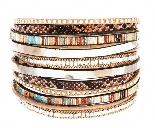Brown Multi Color Wide Floral Print Strips Clear Crystal Magnetic Clasp Bracelet