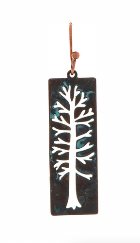 Patina Green Rectangle Tall Tree Cut Out Brass French Earring