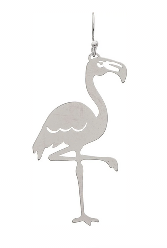Shiny Silver Leg Up Flamingo Wire Earring