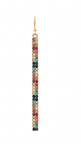 Multi Rainbow Colorful Crystal Stick Gold French Wire Earring