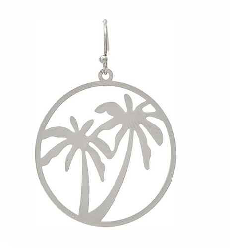 Smooth Silver Open Circle Palm Tree Cutout French Wire Earring