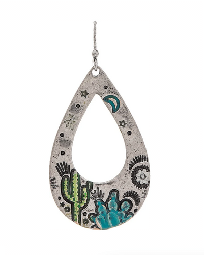 Oxidized Silver Details Painted Turquoise Blue Flower Green Cactus Desert Landscape Open Teardrop French Wire Earring