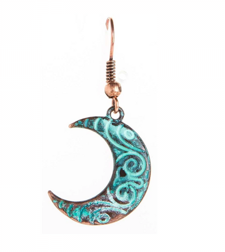 Copper Patina Swirl Design Crescent Moon Earring