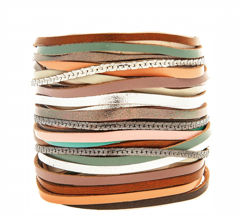 Gold Silver Mixed Brown Green Super Wide Leather Strappy Magnetic Closure Bracelet