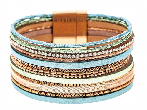 Blue Green and Gold Chain Edge Strips Magnetic Closure Bracelet