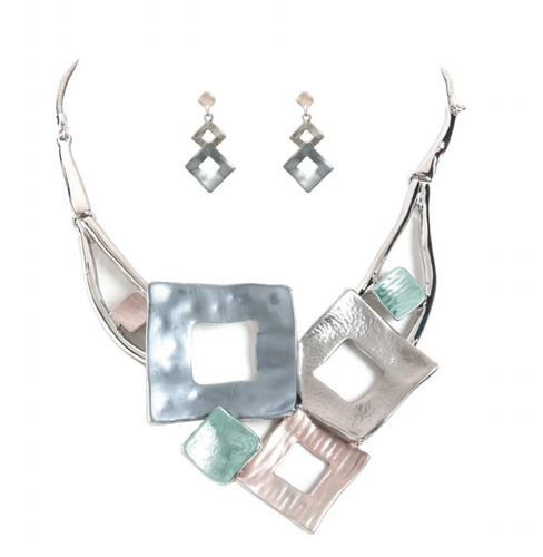 Shiny Silver Blue, Green, Gray, Rose Colorwash Layered Squares Necklace Set